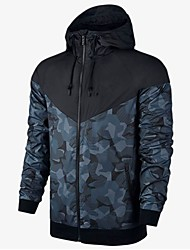 cheap -Men's Sports / Going out Sports & Outdoors Jacket - Geometric, Patchwork Hooded / Long Sleeve