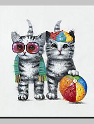 baratos -Mintura® pintados à mão moderna abstrata animal moda gato pintura a óleo sobre tela retrato da arte da parede para decoração de casa pronto para pendurar