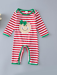 cheap -Baby Unisex Daily Sports Striped One-Pieces,Cotton Spring Fall Cute Active Long Sleeve Red Green