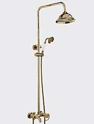 Недорогие -Традиционный Modern Душевая система Водопад Широко распространенный Ручная лейка входит в комплект Керамический клапан Два отверстия