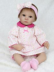 billige -NPK DOLL Reborn-dukker Babypiger 18 inch Silikone / Vinyl - livagtige, Hånd Anvendte Øjenvipper, Tippede og forseglede negle Børne Pige Gave / CE / Naturlig hudfarve / Floppy Head