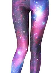 baratos -Mulheres Calças de Yoga Esportes Estampa de Galáxia Meia-calça / Leggings Corrida, Fitness, Ginásio Roupas Esportivas Leve, Respirável, Secagem Rápida Com Stretch Skinny