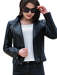cheap -Women's Vintage Leather Jacket - Solid, Pleated