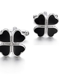 cheap -Four Leaf Clover Black Cufflinks Elegant Wedding Gift Valentine Men's Costume Jewelry