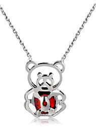 cheap -Women's Cubic Zirconia Pendant Necklace - Zircon, Silver Plated Panda, Animal Wine Necklace One-piece Suit For Party, Daily