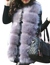 preiswerte -Damen Solide Einfach Lässig/Alltäglich Weste,Asymmetrisch Winter Langarm Standard Fuchsfell