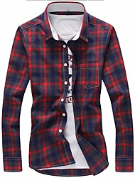 cheap -Men's Plus Size Cotton Shirt - Plaid