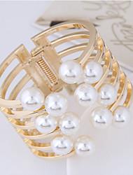 Недорогие -Жен. Вырезка Браслет разомкнутое кольцо / Широкий браслет - Шарообразные европейский, Массивный Браслеты Золотой Назначение Для вечеринок