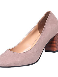 cheap -Women's Shoes PU Spring Fall Comfort Heels High Heel Round Toe for Casual Black Wine Khaki