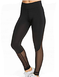 cheap -Women's Sporty Legging - Mesh Patchwork, Solid Colored High Waist