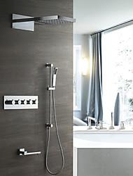 abordables -ducha de lluvia contemporánea montada en la pared ducha de mano incluida válvula de cerámica termostática cinco manijas ocho agujeros cromo, grifo de