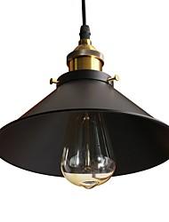 Недорогие -винтажные подвесные светильники чердак черный металлический оттенок столовая подвесные светильники кухонная плита светильник