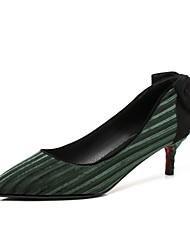 baratos -Mulheres Sapatos Veludo Primavera Outono Conforto Saltos Salto Sabrina Dedo Apontado Laço para Festas & Noite Escritório e Carreira Preto