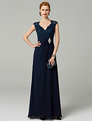 cheap -A-Line V Neck Floor Length Chiffon Lace Mother of the Bride Dress with Beading Side Draping by LAN TING BRIDE®