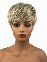 billiga -Syntetiska peruker Rak Blond Pixie-frisyr Syntetiskt hår Blond Peruk 13 cm Utan lock Blond