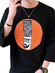 baratos -Homens Tamanhos Grandes Camiseta Activo Sólido Retrato Algodão Decote Redondo Delgado