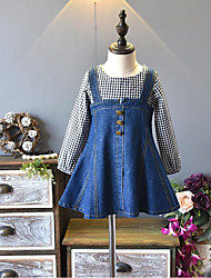 cheap -Girl's Daily Going out Solid Plaid Patchwork Dress, Cotton Polyester Spring Fall Long Sleeves Cute Active Blue