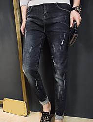 Herre Normal Simple Mikroelastisk Jeans Bukser, Alm. taljede Polyester Ensfarvet Vinter Efterår