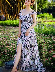 baratos -Mulheres balanço Vestido Floral Com Alças Cintura Alta Longo