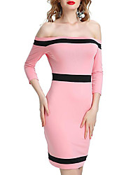 cheap -Women's Basic Slim Sheath Dress - Color Block Strapless