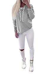 preiswerte -Damen Langarm V-Ausschnitt Pullover Solide Baumwolle