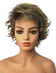 preiswerte -Synthetische Perücken Glatt Pixie-Schnitt / Stufenhaarschnitt Synthetische Haare Strähnchen / Balayage-Technik Blond Perücke 13 cm