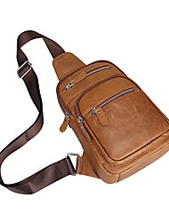 baratos -Homens Bolsas Pele Sling sacos de ombro Ziper Café / Camel
