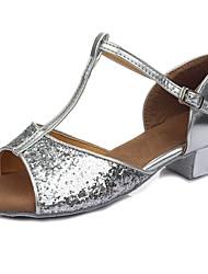 cheap -Latin Shoes Paillette / Leatherette Sandal / Heel Training Buckle / Paillette Chunky Heel Customizable Dance Shoes Silver