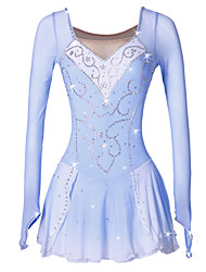 cheap -Figure Skating Dress Women's Girls' Ice Skating Dress Blue/White Spandex Rhinestone Sequin High Elasticity Performance Skating Wear