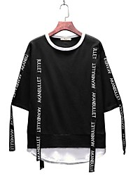 economico -T-shirt - Taglie forti Per uomo Serata Attivo Alfabetico Rotonda - Cotone