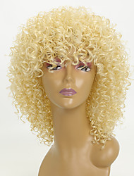 cheap -Synthetic Wig Kinky Curly Synthetic Hair African American Wig Blonde Wig 8-11inch Natural Wigs / Party Wig Capless