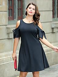 cheap -Women's Plus Size A Line Sheath Little Black Dress - Solid Color Bow High Waist