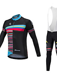 cheap -Malciklo Long Sleeve Cycling Jersey with Bib Tights - White / Black Bike Clothing Suit, Quick Dry, Anatomic Design, Reflective Strips Lycra / Stretchy / High Elasticity