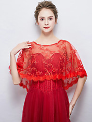 cheap -Sleeveless Polyester / Cotton Blend Wedding / Party / Evening Women's Wrap With Crystal / Rhinestone / Lace-trimmed Bottom Capelets