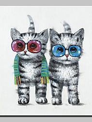 baratos -mintura® pintados à mão moderna abstrata animal moda gato pinturas a óleo sobre tela retrato da arte da parede para decoração de casa pronto para pendurar