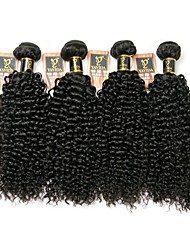 cheap -Brazilian Hair Kinky Curly Human Hair Weaves 4pcs Natural Color Hair Weaves