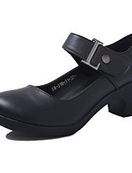 "cheap -Women's Modern Synthetic Microfiber PU Heel Outdoor Chunky Heel Black Beige Brown Red 2"" - 2 3/4"" Customizable"
