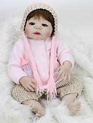 billige -NPK DOLL Reborn-dukker Baby 22 inch Fuld krops silicone / Silikone / Vinyl - livagtige, Hånd Anvendte Øjenvipper, Tippede og forseglede negle Børne Gave / CE / Naturlig hudfarve / Floppy Head