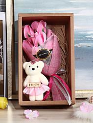 abordables -Mariage Anniversaire Faveurs et cadeaux de fête - Cadeaux Ours Noeud en satin Fleur séchée Romance