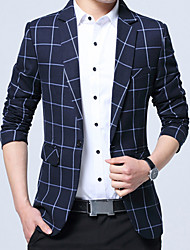 cheap -Men's Long Blazer - Plaid