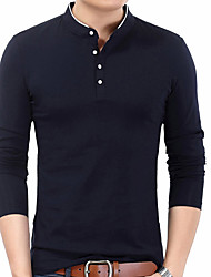 abordables -Tee-shirt Homme, Couleur Pleine simple Mao
