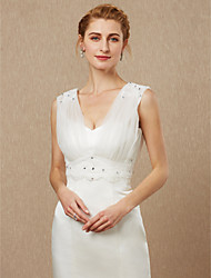 cheap -Sleeveless Tulle Wedding Party / Evening Women's Wrap With Beading Appliques Button Vests