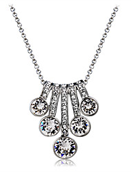 cheap -Women's Crystal Cubic Zirconia Crystal Zircon Silver Plated Pendant Necklace - Elegant Fashion Irregular Silver Necklace For Wedding