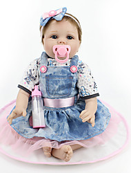 cheap -NPK DOLL Reborn Doll Baby Girl 22inch Silicone / Vinyl - lifelike, Cute, Child Safe Girls' Kid's Gift