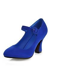 Недорогие -Жен. Обувь Нубук Весна Осень С ремешком на лодыжке Обувь на каблуках Каблуки на заказ Круглый носок Пряжки для Свадьба Офис и карьера