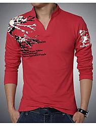 economico -T-shirt Per uomo Per uscire Moda città Colletto alla coreana Poliestere Manica lunga