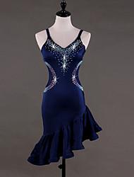 cheap -Latin Dance Dresses Women's Performance Spandex Crystals / Rhinestones Sleeveless High Dress