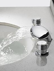 economico -Moderno Installazione centrale Cascata Valvola in ceramica Due maniglie Tre fori Cromo, Lavandino rubinetto del bagno