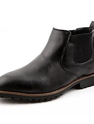 男性用 靴 合成マイクロファイバーPU 春 秋 コンバットブーツ ブーツ ミドルブーツ リベット のために カジュアル ブラック Brown バーガンディー