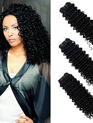 Недорогие -3 предмета Черный Крупные кудри Бразильские волосы Ткет человеческих волос Наращивание волос 0.3kg
